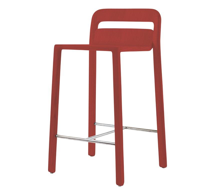 Hollywood Bar Stool 64cm H Seat Natural Oak red
