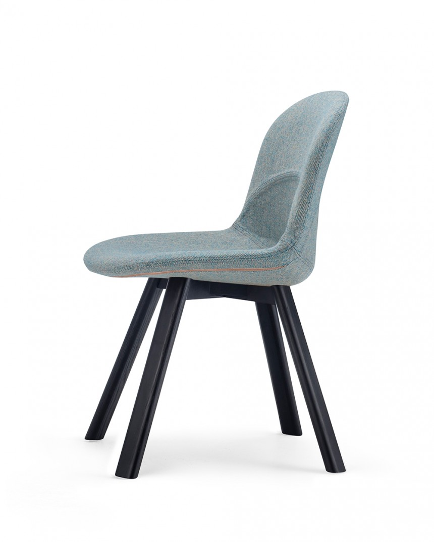Lunar Chair in Camira Mainline Flax Temple Upholstery with Lander Natural Oak Base