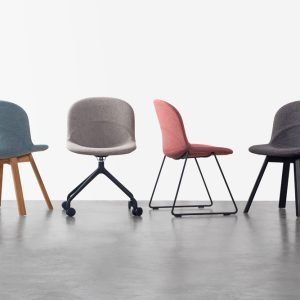 Lunar Chair in Camira Mainline Flax Temple (Black) Upholstery with Lander Natural Oak Base