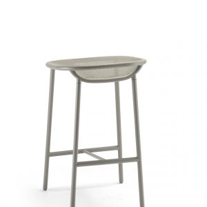 Grille Outdoors/In (650mm Seat Height) Counter Stool – Stone Grey behind