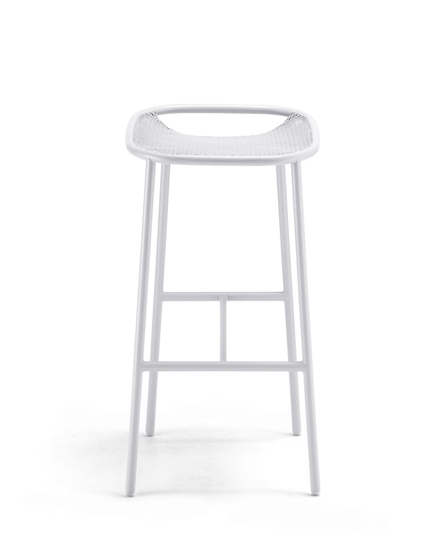 Grille Outdoors/In (750mm Seat Height) Bar Stool - Matt White front