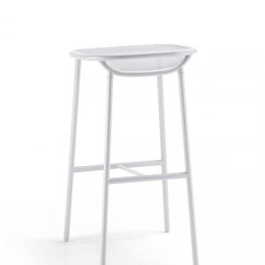 Grille Outdoors/In (750mm Seat Height) Bar Stool – Matt White behind