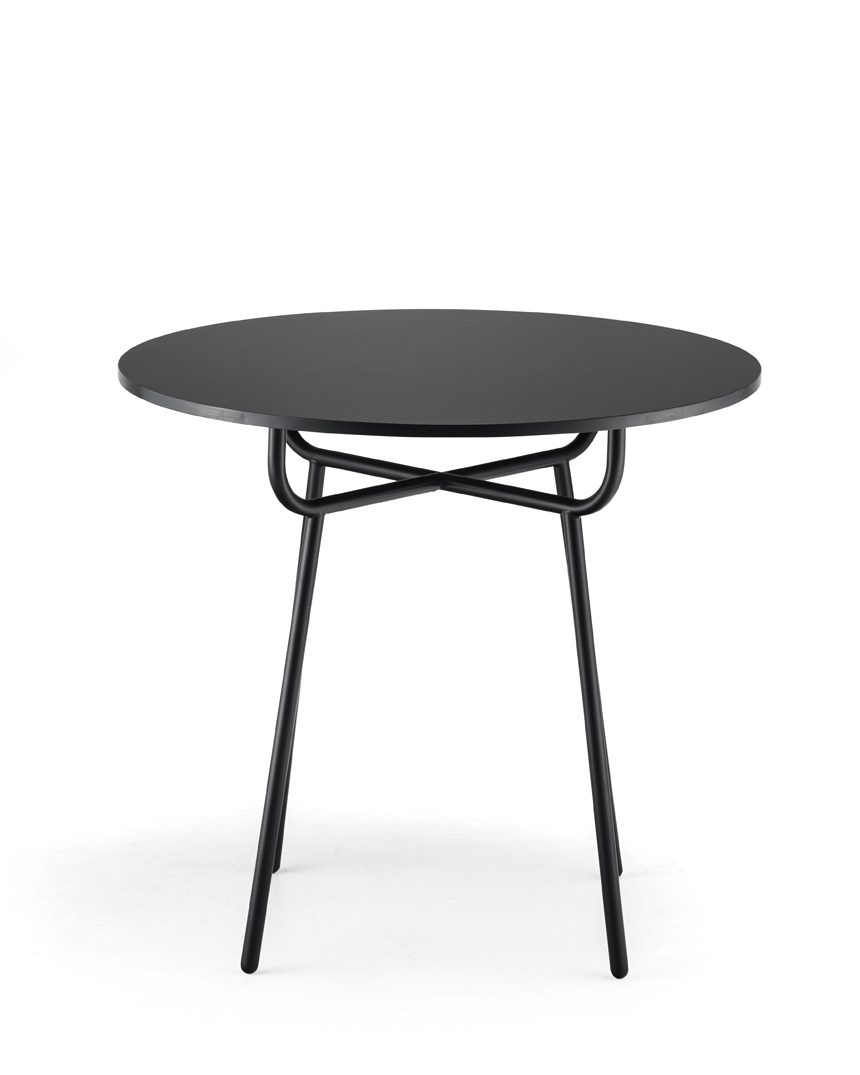 Grille Outdoors/In Residential Table with 800mm Round Table top - Matt Black main image