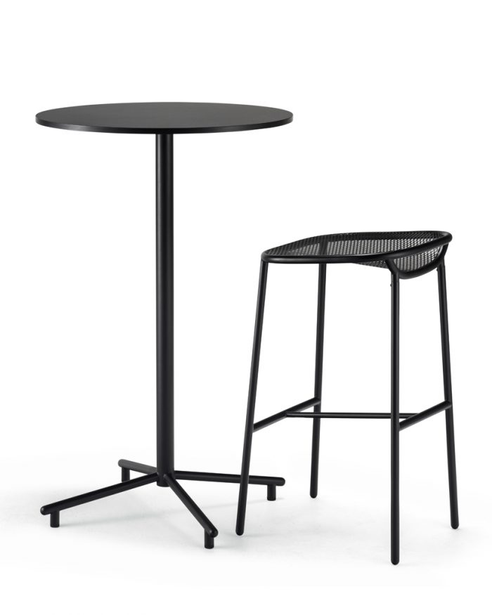 Grille OutdoorsIn (750mm Seat Height) Bar Stool – Matt Black with table